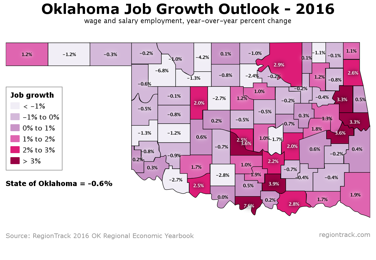 forecast regiontrack areas of oklahoma will struggle to add jobs in 16
